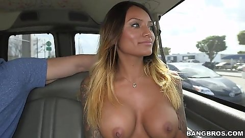 Latina gorgeous Natalia Mendez flashes her boots on bangbus and then gets all naked