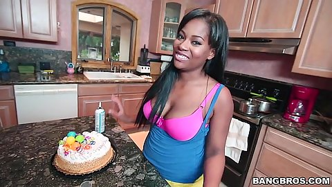 Big tits ebony girl gets naked in kitchen solo Monique Symone