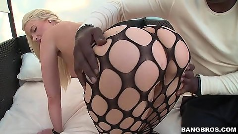 Anikka Albrite in fishnet and round ass felt up and pov suck
