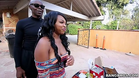 Black Nikki Ford getting all wet and aroused outdoors