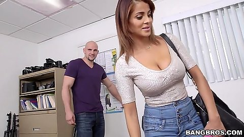 Bianca comes in wearing tight shirt for her first sex video