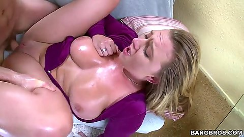 Brooke Wylde oiled up shaved vagina sex with legs open