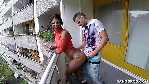 Bonnie Rotten standing fuck over balcony pumping