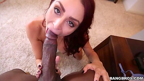 Interracial huge cock pov milf sucking and pussy fuck from behind Monique Alexander