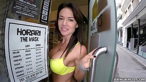 Girl goes to the store in lingerie in public with Franceska Jaimes