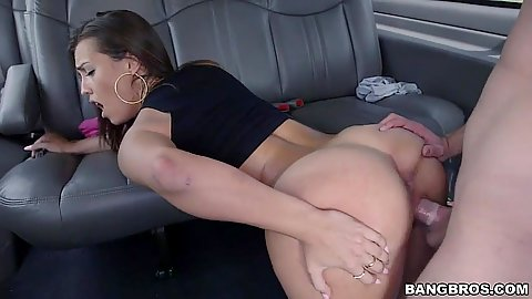 Nice booty brunette wearing only a top gets pumped in back seat Kelsi Monroe