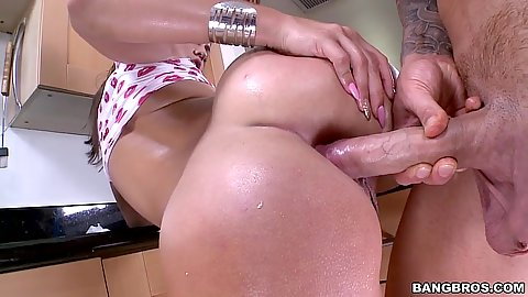 Anal fuck on kitchen table with oil and close up from round ass Kelsi Monroe