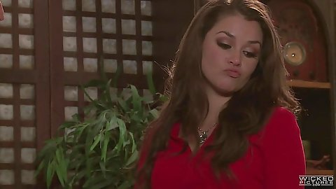 Angelic babe Allie Haze dressed nice makes out and sucks