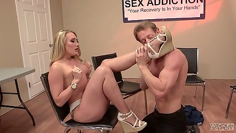 Blonde charming AJ Applegate gets touched and loved on chair