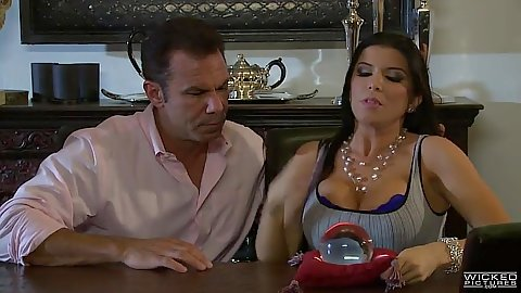 Nice looking girl sitting at the table with Romi Rain