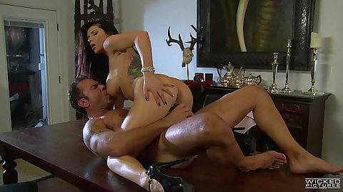 Temping cowgirl cock sitting with Romi Rain and cumshot on face and tits