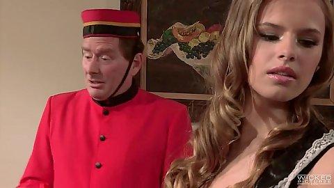 Alluring blonde babe in maid uniform seduces man Jillian Janson