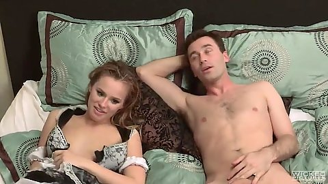 Young girl with no bra lays in hotel room with man and then Asa Akira