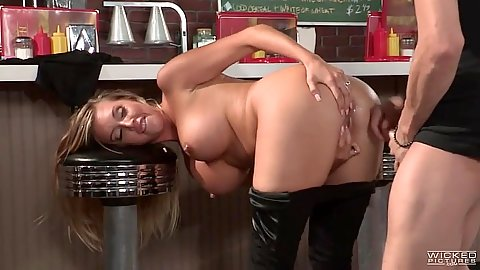 Bending over bar stool with busty Samantha Saint