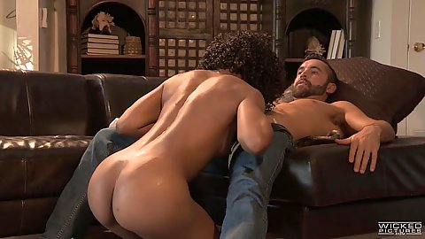 Silly ebony Misty Stone giving a saucy blowjob