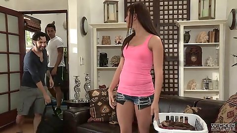 Skinny girl Hope Howell climbs on man in tight cute shorts