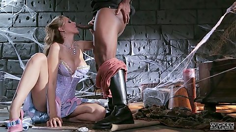 Parody blowjob in dungeon with Julia Ann and interracial
