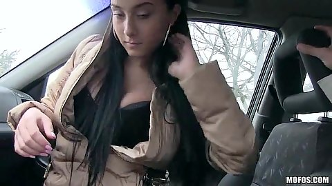Anna Rose public blowjob in car from fully clothed euro babe