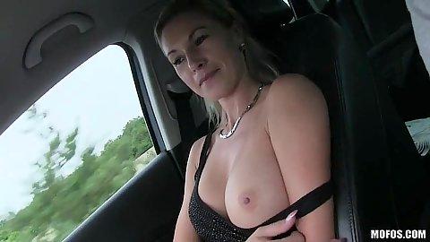 Alena flashing boobs and giving pov handjob with picket up hitchhiker