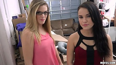 Two good looking club chicks Megan Rain and Kendra Lynn play the sex dice