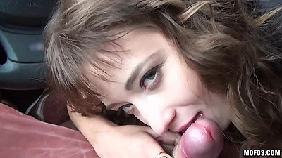 Pov blowjob with sexy foot chick in car Taissia Shanti and footjob