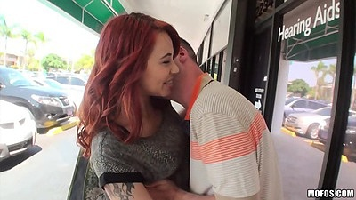 Willing redhead Julia Rocket picked up in public gets naked and plays with man