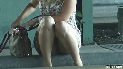 Dixie Belle sitting on the curb in public pickedup for upskirts in car