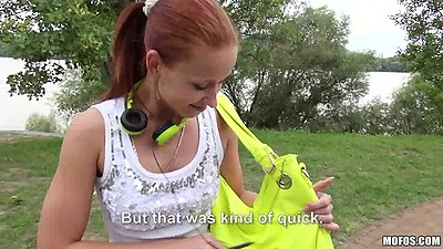 Redhead was soing her work out in tight pants and gets sex recuitment Minnie Manga