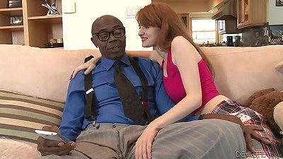 Abby Rains readhead is seducing and older black man