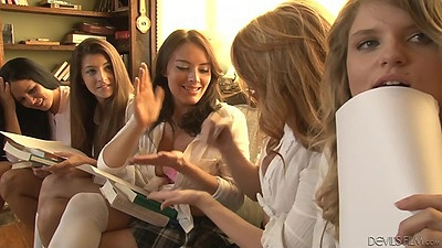 Horny library school girl teens with Andrea Sky and Andrea Sky and s1