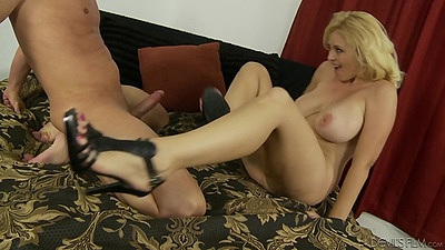 Flirting blonde busty milf Jack Spade rides it like a horse