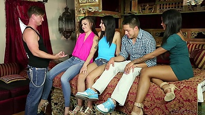 Group of girl with an ebony chicks Rachael Madori and Hazel A and Harley Dean