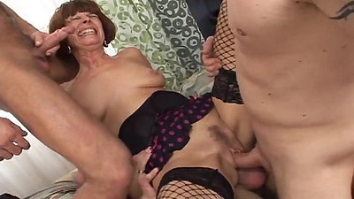 Sugar double penetration and anal sex with small boobs readhead mature slut