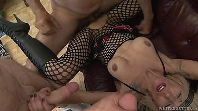 Pile driver milf medium boobs group sex with reverse blowjob La Femme Nikita
