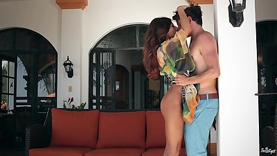 Arousing skinny trophy wife Madison Ivy goes down on man