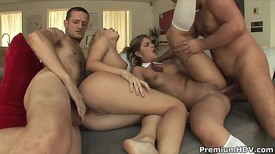 Foursome orgy with cock craved anal loving college skanks Valentina Rossi and Valentina Rossini