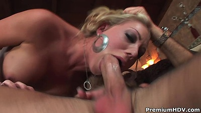 Girl sucking like nasty whore with pussy thrusting Kara Bare