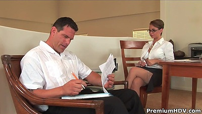 Vixen Holly West in the office seducing her employer