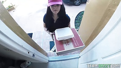 Temping teen Kimber Woods is delivering some pizzas