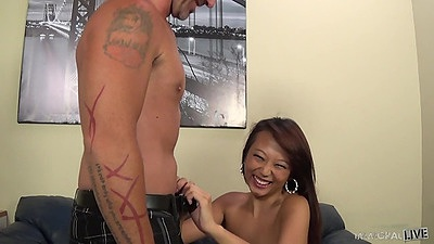 Teasing asian petite Miko Dai loves to suck Porno Dan