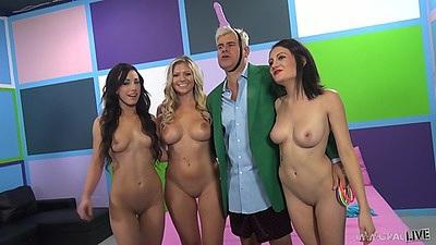 Flirting skinny chicks in group scene Brianna Brooks and Chase Ryder and Jennifer White