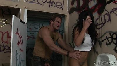 Brunette Mason Moore walks into public bathroom and fucks near urinal