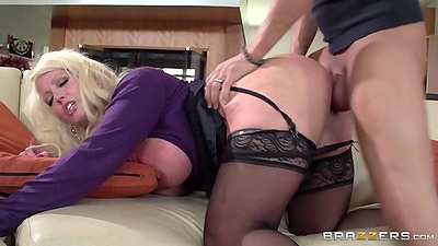 Rear entry with milf Alura Jenson in stockings penetration