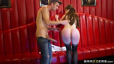 Naughty stripper in stockings with Tina Kay