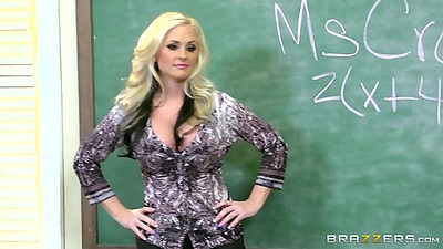Fully clothed blond Alena Croft gets gang banged in her school yay
