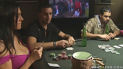 Sexy busty mommy playing poker with no money