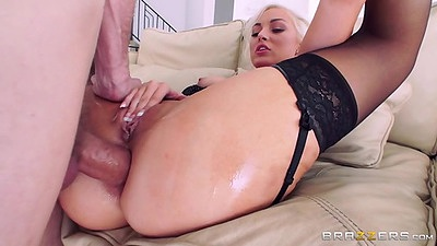 Anal drilling with oil dripping blonde Jenna Ivory