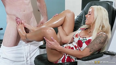 Pedicure with pervert man gets oil on feet Nina Elle