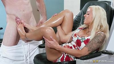 Pedicure with pervert man gets oil on feet Nina Elle