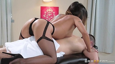 Petite asian nympho doing her dirty massage with oil from Kaylani Lei